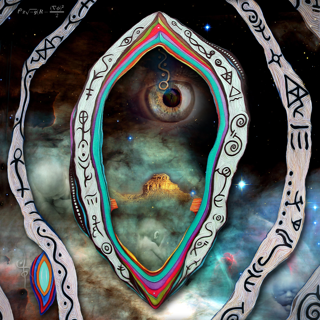 WingMakers - I glifi della Camera 2 del sito Ancient Arrow su uno sfondo cosmico